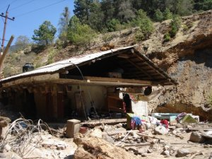 House destroyed by mudslide.