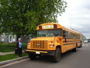 Sister Maryrose and school mission bus