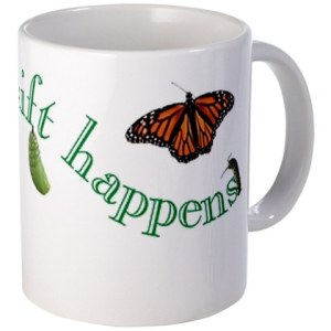 "Happy Tonics coffee or tea cup. ""Shift Happens"""
