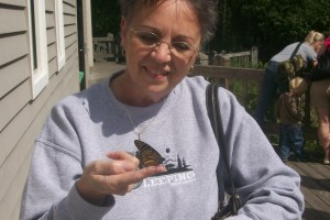 Jo Flanagan with monarch butterfly