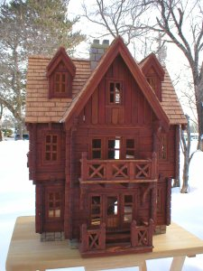 hand crafted wood dollhouse