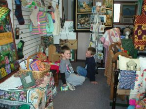 McNulty boys enjoy the store's stuffed animals