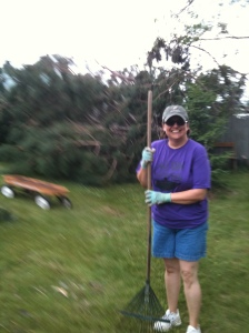 Janice Organ helps with storm clean up.