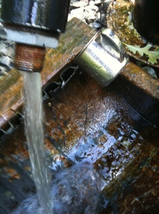 Artesian well with spout and cup