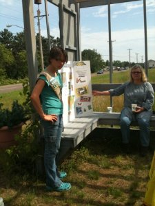 Dakota at Monarch Butterfly Habitat teaching about butterfly migration to attendees