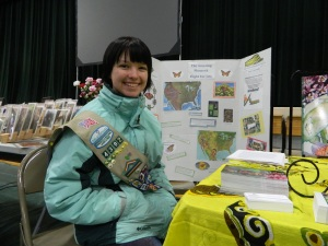 Dakota Robinson with Monarch Butterfly Migration storyboard and petition