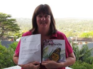 Marlene Darmanin, with my book bound for Viwa Island, Fiji