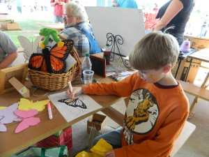 Gideon Fegman coloring monarch from Monarch Butterfly Coloring Book